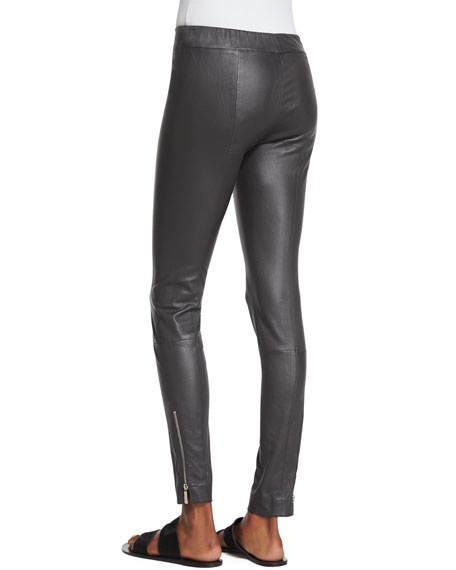 Image 3 of 3: THE ROW Lenra Bonded Leather Leggings, Pewter