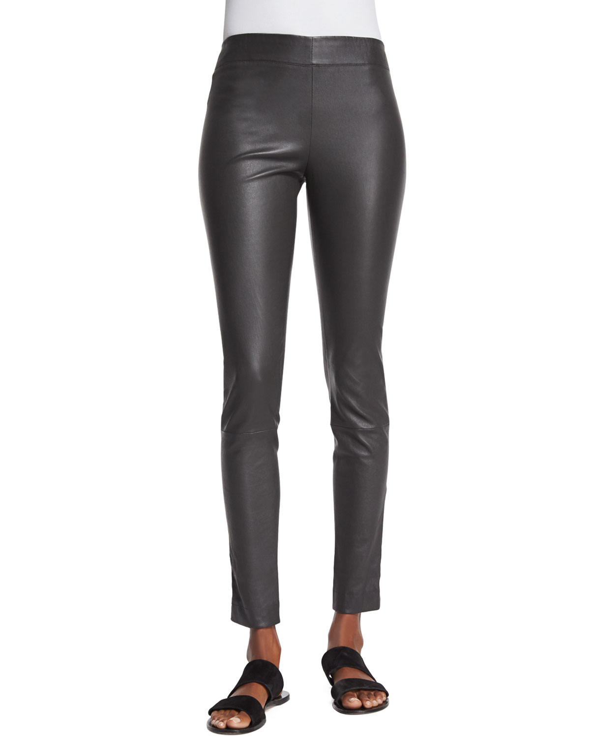 THE ROW Lenra Bonded Leather Leggings, Pewter