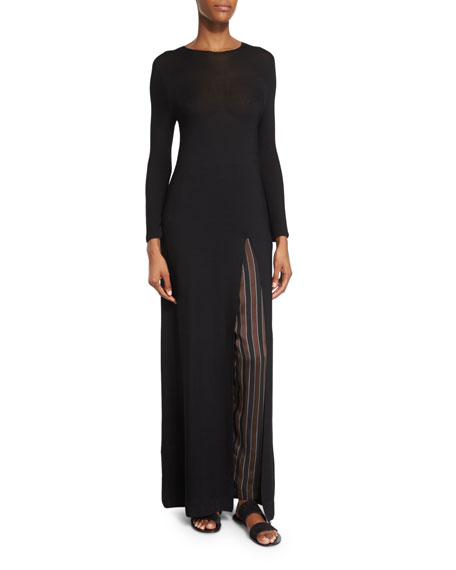 THE ROW Ethel High-Slit Long Dress, Black