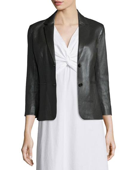 Noblan Leather Blazer, Black Best Price