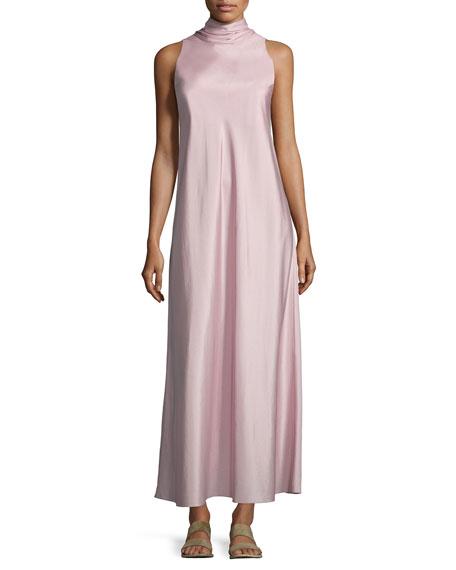 THE ROW Abiana Sleeve Neck-Tie Silk Dress, Cinder Rose