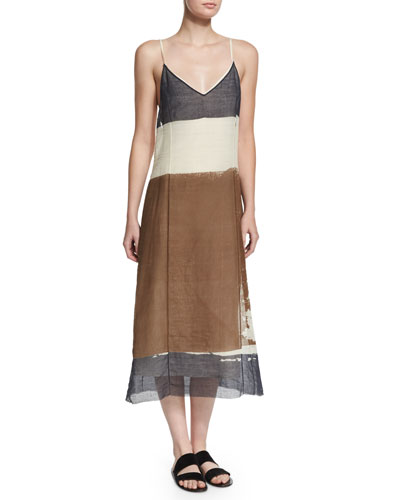 THE ROW Mucca Sleeveless Screen-Print Dress, Ivory Cream