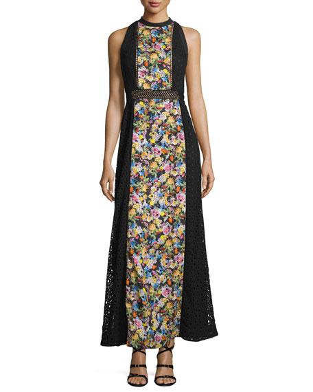 Mary Katrantzou Paneled Floral-Print Maxi Dress, Black
