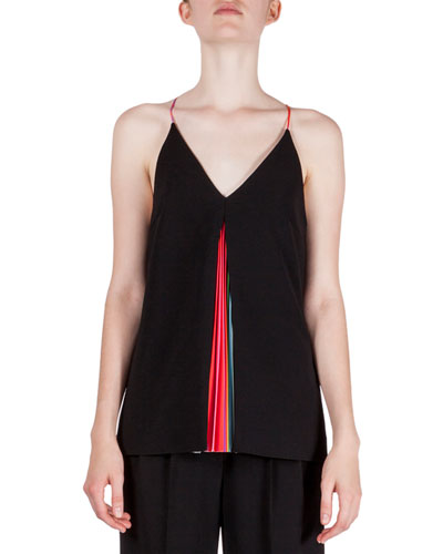 Halter-Neck Plisse-Inset Top, Black Rainbow