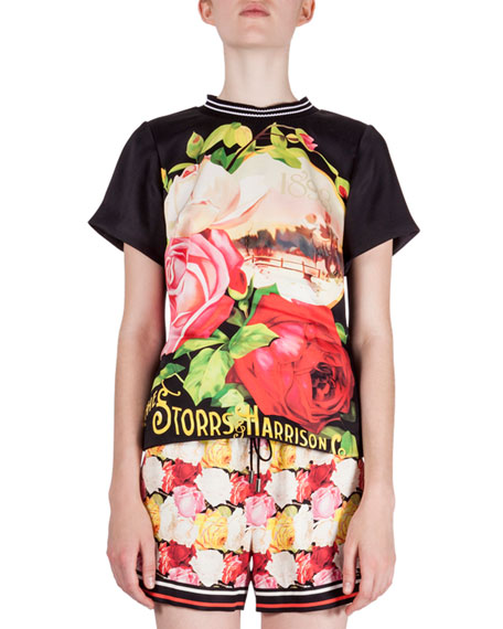 Mary Katrantzou Rosa-Print T-Shirt Top, Black Rosa
