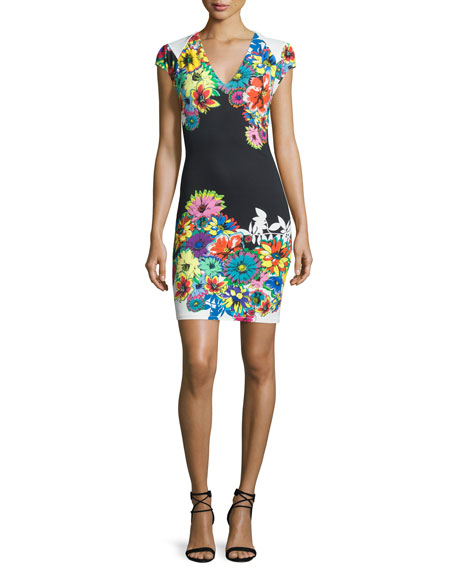 Roberto Cavalli Cap-Sleeve V-Neck Floral-Print Dress, Black/White/Blue