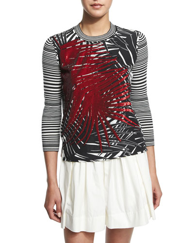 Marc Jacobs Palm-Applique Striped Sweater, White