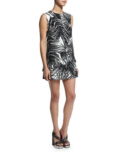 Sleeveless Palm-Print Mini Dress, Black