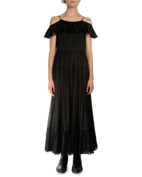 Saint Laurent Off-The-Shoulder A-Line Dress, Black