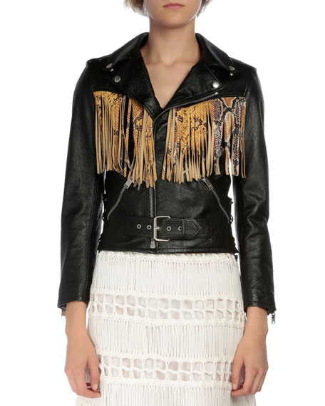 Saint Laurent Leather Moto Jacket W/Fringe, Black/Yellow