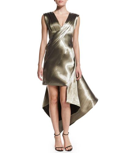 Sleeveless Pleated Liquid Dress, Sag