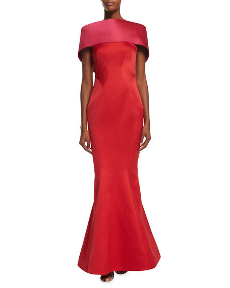 Off-The-Shoulder Colorblock Gown, Fuchsia/Hibiscus
