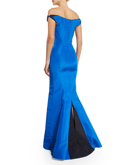 Off-The-Shoulder Two-Tone Gown, Brilliant Blue/Midnight