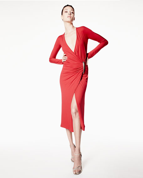 Donna Karan Long-Sleeve Drape Dress, Lacquer