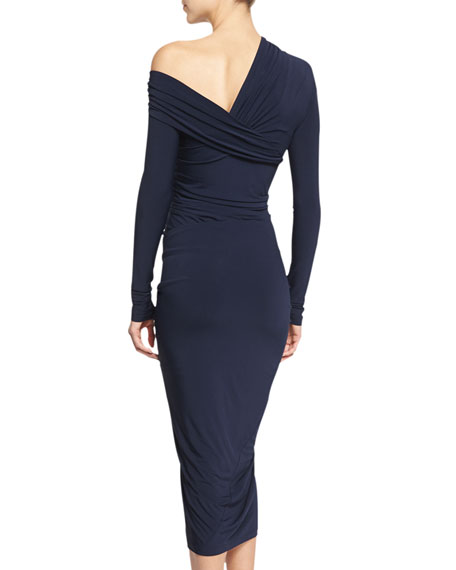 Donna Karan Long-Sleeve Drape Cocktail Sheath Dress, Dark Navy
