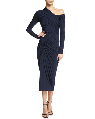 Long-Sleeve Drape Cocktail Sheath Dress, Dark Navy