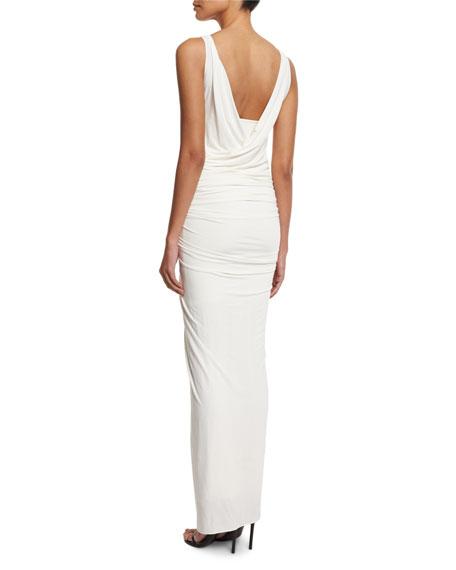 Donna Karan Sleeveless Draped Gown W/Element Buckle, Ivory