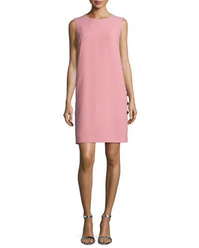 Sleeveless Scallop-Detail Shift Dress, Rosehip