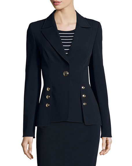 Escada Two-Button Scuba Peplum Jacket, Navy