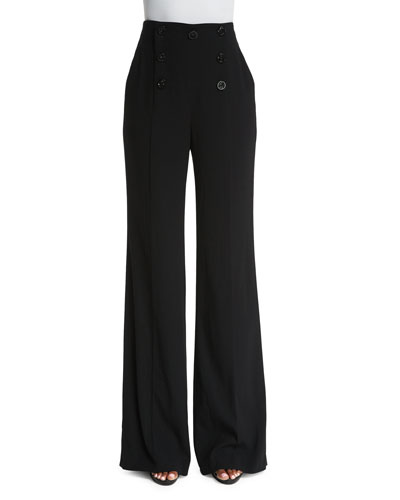 High-Waist Wide-Leg Sailor Pants, Black