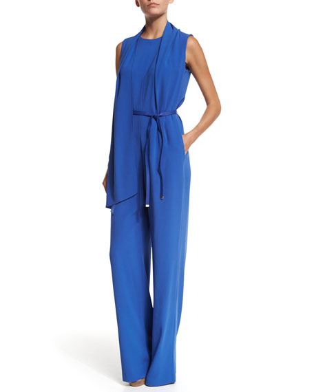 Sleeveless Wide-Leg Belted Jumpsuit, Heather