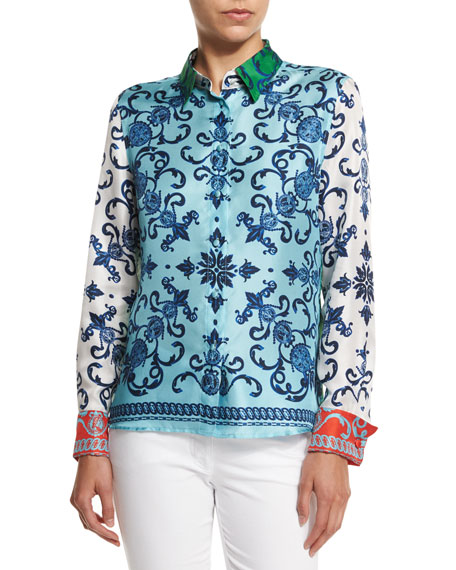 Escada Acanthus Coin Button-Front Blouse, Off White/Multi Colors