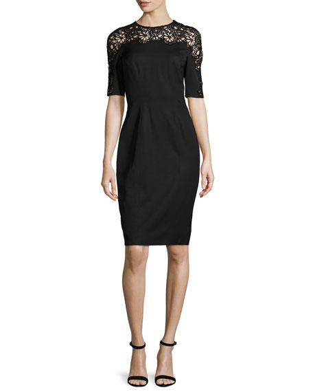 Lela Rose Short-Sleeve Lace-Inset Sheath Dress, Black