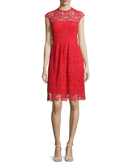Lela Rose Cap-Sleeve Jewel-Neck Lace Dress, Red