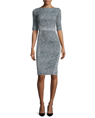 Half-Sleeve Seamed Sheath Dress, Navy