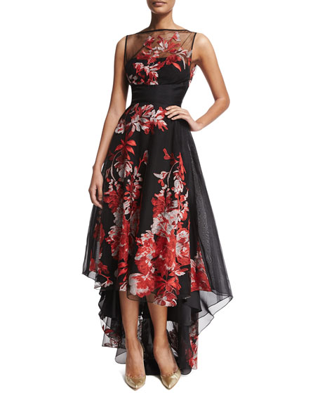 Lela Rose Sleeveless Embroidered High-Low Gown, Multi Colors