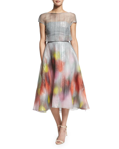 Lela Rose Watercolor Short-Sleeve Backless Dress, Multi Colors