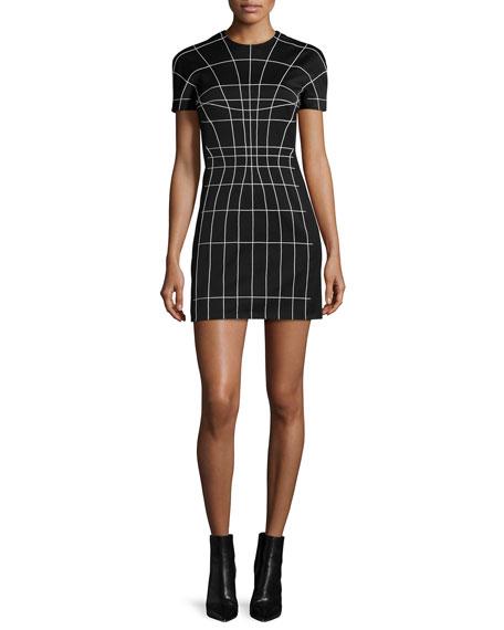 Thierry Mugler Short-Sleeve Sculpted Mini Dress, Black/Off White