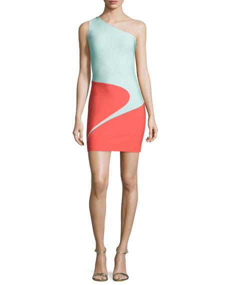 Mugler One-Shoulder Curved Colorblock Dress, Coral/Seafoam