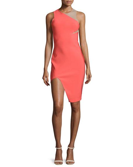 Mugler Sleeveless Mega Milano Mesh-Inset Dress, Coral