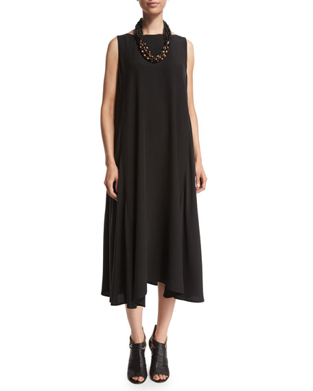 Eskandar Sleeveless Bateau-Neck A-Line Dress, Black