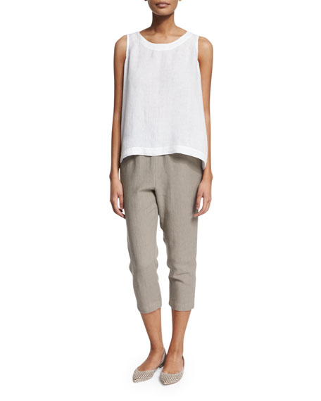 Cropped Slim-Leg Linen Trousers, Dolphin