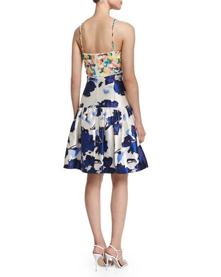 Floral-Motif Mixed-Media Dress, Marine Blue