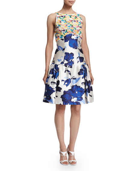 Oscar de la Renta Floral-Motif Mixed-Media Dress, Marine