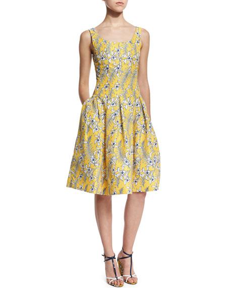 Oscar de la Renta Sleeveless Scoop-Neck Dress, Marigold