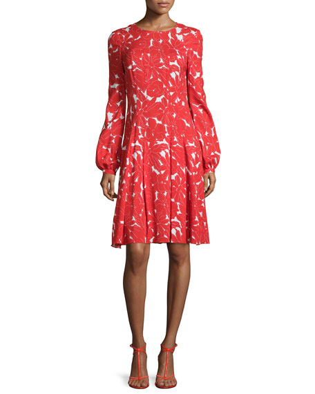 Oscar de la Renta Daisy-Print Fit-&-Flare Dress, Vermillion