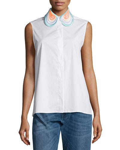 Sleeveless Embroidered-Collar Blouse, White