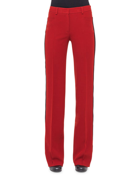 Akris punto Wide-Leg Pants W/Contrast Stripe, Cherry