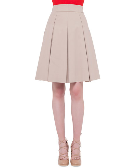 Akris punto Inverted-Pleat A-Line Skirt, Cord