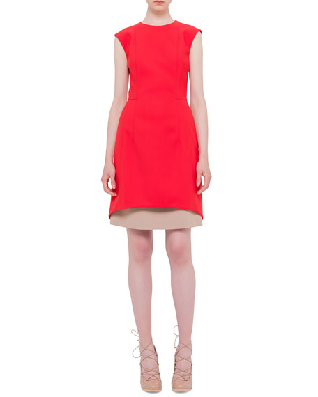 Akris punto Jewel-Neck Contrast-Hem Dress, Sport Red
