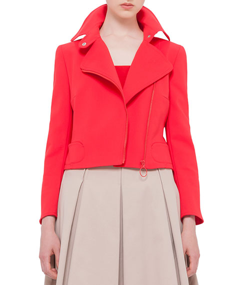 Akris punto Asymmetric-Zip Moto Jacket, Sport Red