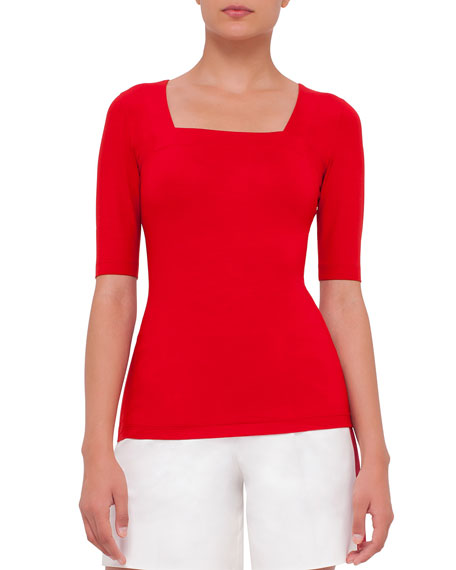 Akris punto Half-Sleeve Square-Neck Tee, Sport Red