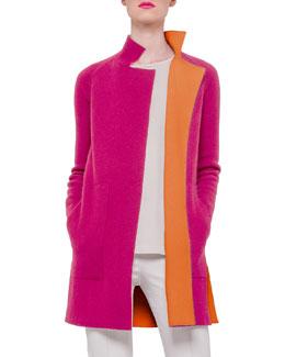 Reversible Long-Sleeve Cashmere Colorblock Coat, Rose/Zinnia
