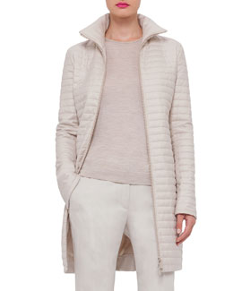 Quilted Cashmere Zip-Front Coat, Ranunculus