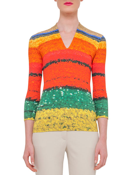 Akris 3/4-Sleeve Printed T-Shirt, Multi Colors