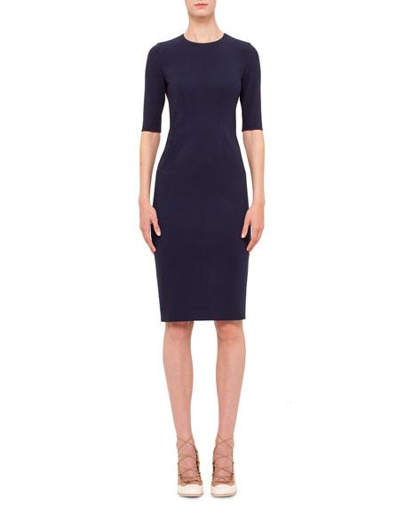 Akris punto Short-Sleeve Jewel-Neck Sheath Dress, Indigo